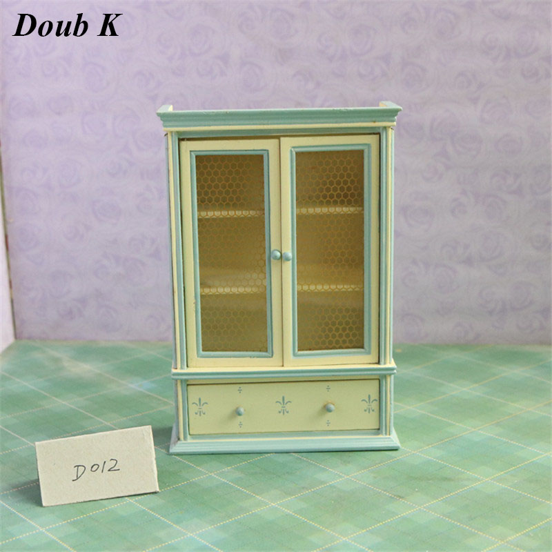 Doub K 1:12 miniature dollhouse furniture toy wooden wardrobe wood dolls house pretend play toys for girls children kid gifts