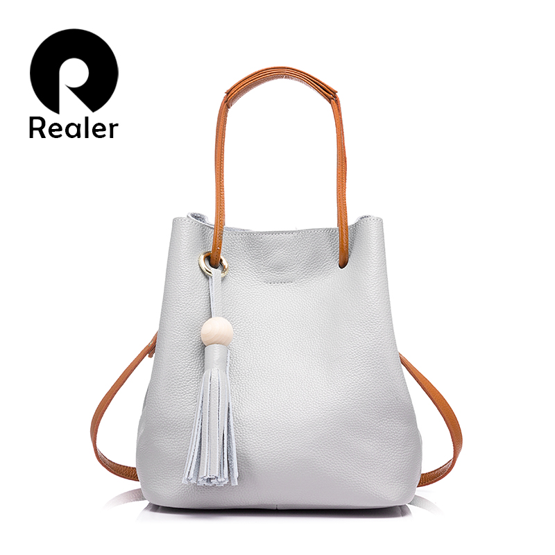 REALER bag women genuine leather handbag female shoulder crossbody bag with tassel drawstring bucket ladies tote