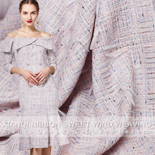 Pearlsilk Style pink purple ribbon tweed cotton polyester autumn suit dress DIY clothes fabrics Freeshipping