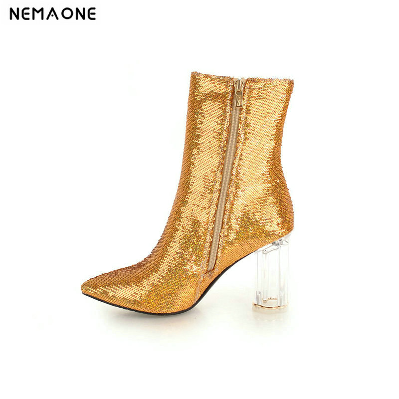 NEMAONE New transparent high heels women boots shiny winter ladies ankle boots party dress wedding dancing shoes woman цена