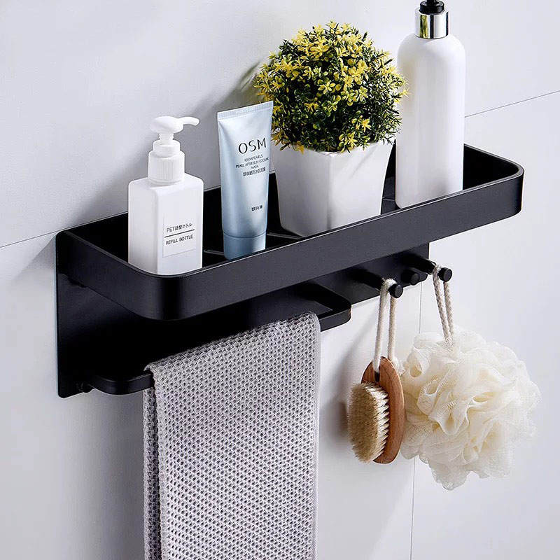 Nail Free Black Space Aluminum Bathroom Shelves With Hooks Wall Mount Bathroom Shelf Bath Storage Rack Hook Easy to Install DNail Free Black Space Aluminum Bathroom Shelves With Hooks Wall Mount Bathroom Shelf Bath Storage Rack Hook Easy to Install D