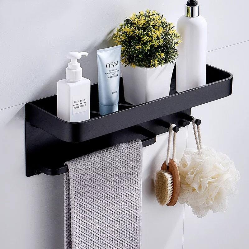 Nail Free Black Space Aluminum Bathroom Shelves With Hooks Wall Mount Bathroom Shelf Bath Storage Rack Hook Easy To Install D