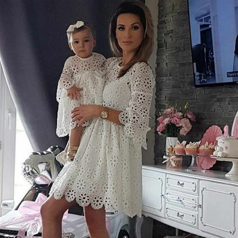 Fashion Family Matching Clothes Mother Daughter Dresses Women Floral Lace Dress Baby Girl Mini Dress Mom Baby Girl Party Clothes