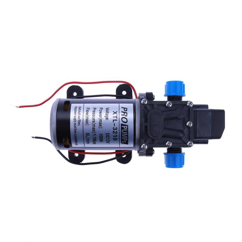 Durable 12V 100W Agricultural Electric Water Pump Micro Electric Diaphragm Pump High Pressure car wash pump screw port Black