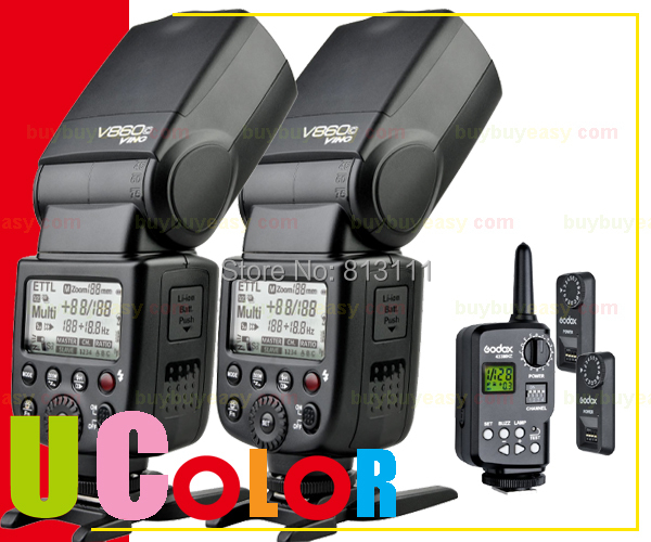2 X Godox V860C Lithium-ion E-TTL Flash Speedlite + FT-16s Trigger KIT for Canon 760D 750D 700D 7D II 70D 5D III aputure 16 channel flash speedlite