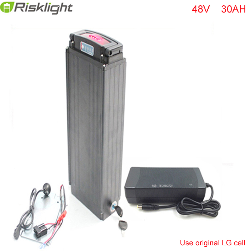 Silver Rear Rack 48V 30Ah e-Bike Lithium Battery 48V 1000W 18650 bafang Battery with 2A Charger For LG Cell electric bicycle battery 36v 30ah electric bike lithium ion battery fit 36v 1000w 500w bafang e bike for samsung 18650 cell