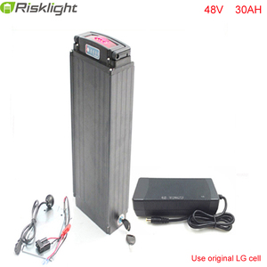 Silver Rear Rack 48V 30Ah e-Bike Lithium Battery 48V 1000W 18650 bafang Battery with 2A Charger For LG Cell