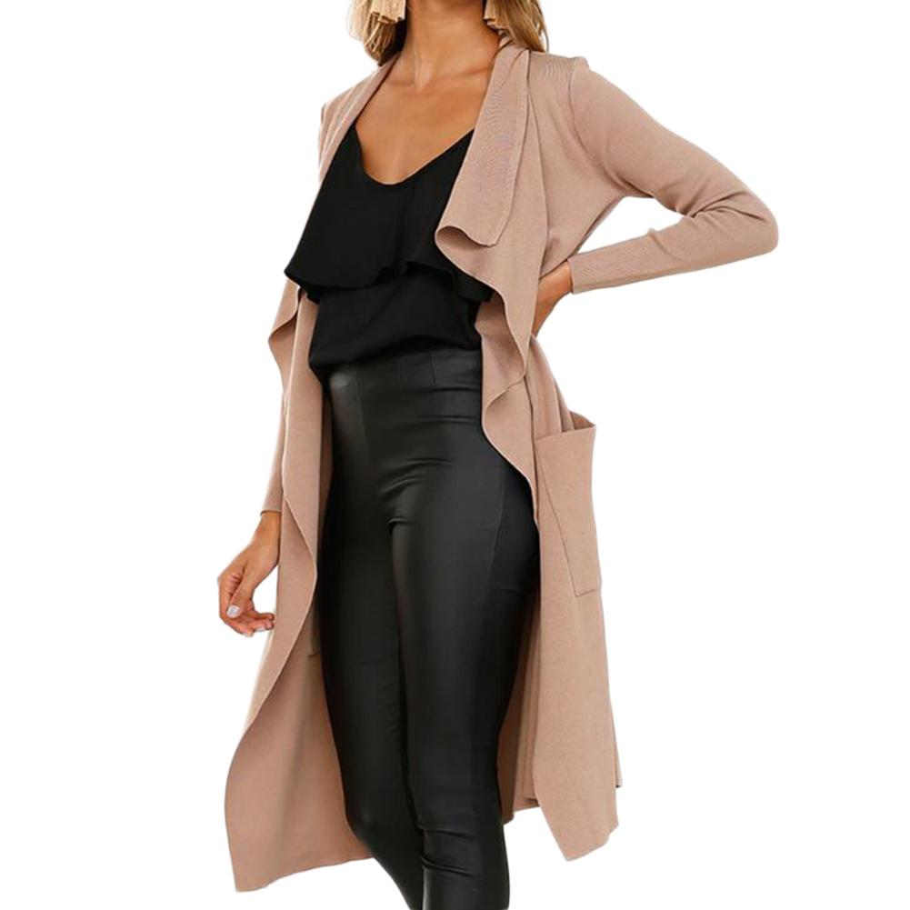 Women's OL Fashionable Casual Lapel Collar Artificial Suede Fabric   Trench   Coat Overcoat Duster Long Sleeve Straight Type Co