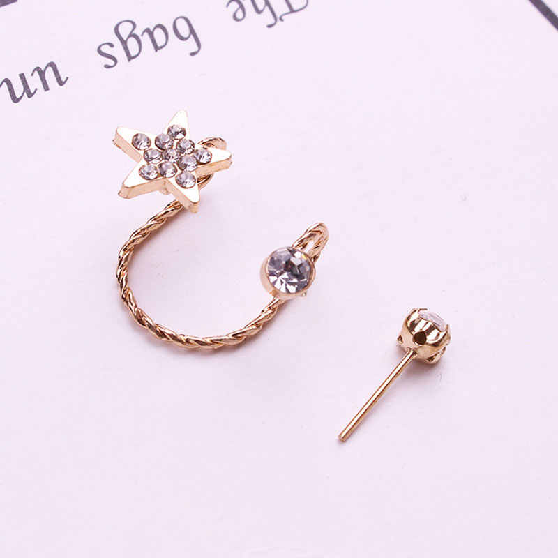 1set Korean New Gold Silver Ear Cuff Non Pierced Earrings Wholesale Clip on Earrings Star Clips for Ears Without Puncture Women