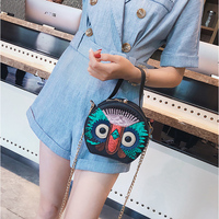 Personality Owl Design Women Shoulder Bags Panelled Chain Women Handbag Purse Pu Leather Ladies Small Round Crossbody Bags Woman