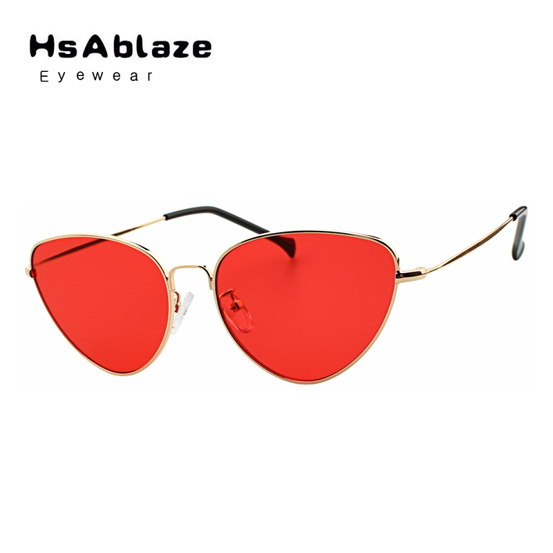 hsablaze eyewear new womens cat eye sunglasses vintage metal retro women mirror shape lunettes. Black Bedroom Furniture Sets. Home Design Ideas