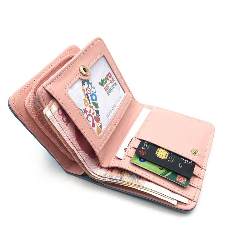 Women cute cat wallet small zipper girl wallet brand designed pu leather women coin purse female card holder wallet billetera 3