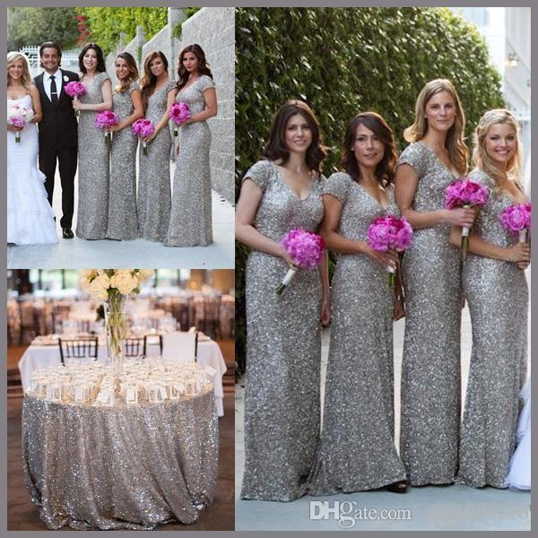 Cap sleeve beaded sequins grey long bridesmaid dresses v for Silver wedding bridesmaid dresses