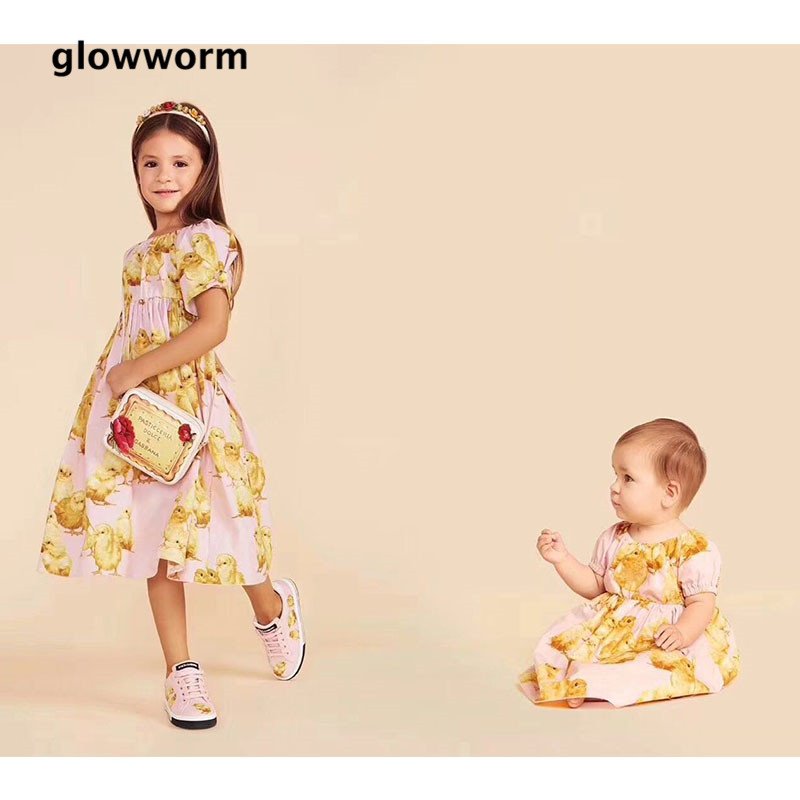 GlowwormKids 2018 Summer Girls Dress Chick Print Girls Clothes Runway Baby Girl Dress Cotton 2-7T hs053