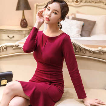 2018 New Autumn Women Long Sleeve Party Mermaid Dress High Quality Casual Slim Bodycon Chic Dresses