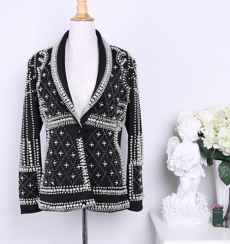 2018 Qualité Perlées Vêtements Femme Designers Blazer Femmes Feminino Embellies Veste Paris Nouvelle Marque Haute Vestes Mode wIdCPZqCx