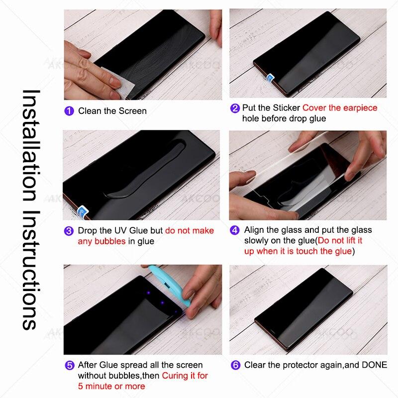 Akcoo Note 9 screen protector with nano liquid UV glue for Samsung Galaxy S8 S9 Plus S7 S6 edge note 8 full glue glass protector