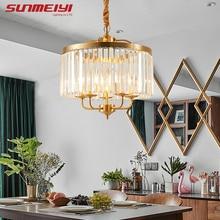 Postmodern Copper Crystals Chandeliers For Bedroom Kitchen Corridor Nordic LED Living room Lamp Fixtures zyrandol wiszacy