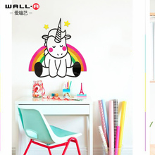 Unicorn acrylic 3D wall stickers childrens room lovely cartoon bedroom paste bedside decorations