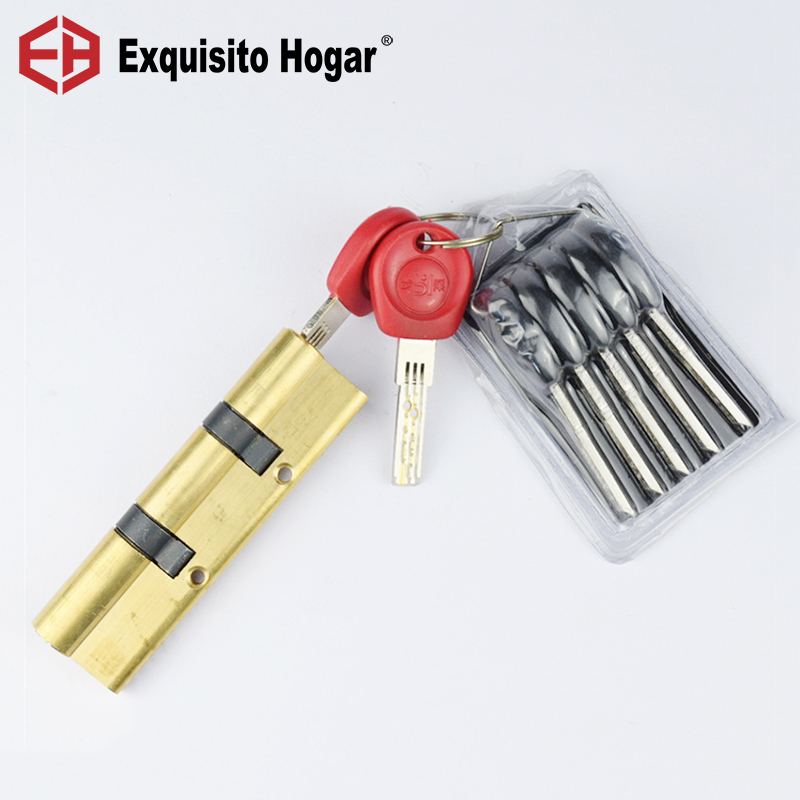 Anti-Theft Gate Door 110 115 120 125 130MM Double Wheel Fork Lock Core Safety Brass  Double Spring Super AB Door Cylinder