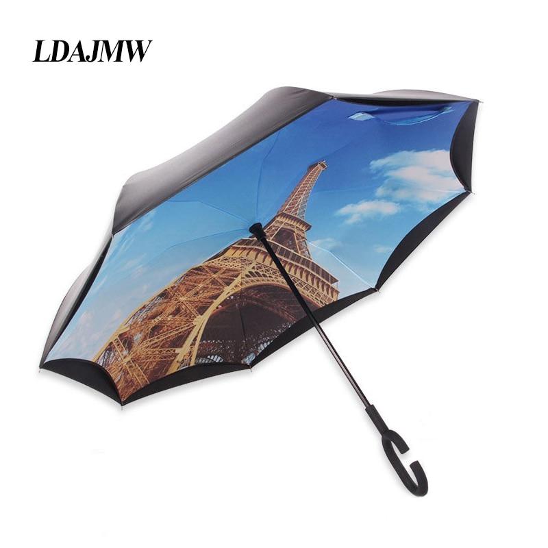 LDAJMW Camada Dupla Reversa Guarda-chuva Aberto fechar Mais Estreita C-Em  Forma de Mão Livre Gráfico Longo À Prova de Vento Guarda-chuva Guarda-chuva  Carro 584d3c97cc