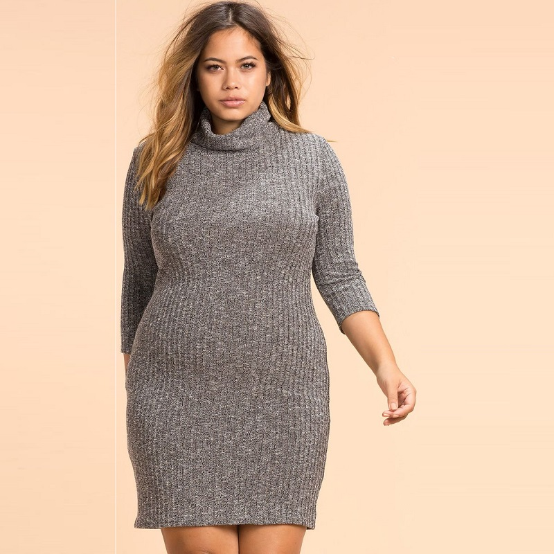 US $12.2 43% OFF|2018 Autumn Knitted Party Dress Plus Size Women Dress Big  Bodycon Bandage Dress Large Size Warm Winter Dress 5XL 6XL Vestidos-in ...