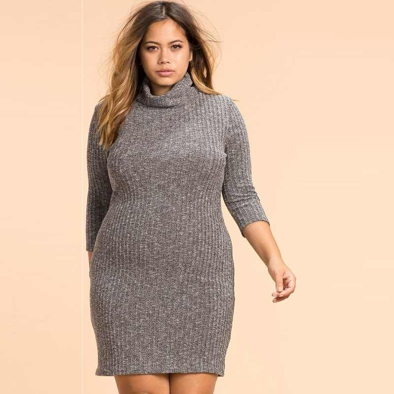 5e6ba83a90f87e1 2018 осеннее вязаное вечерние платье большого размера женское платье  большого размера облегающее Бандажное платье большого размера