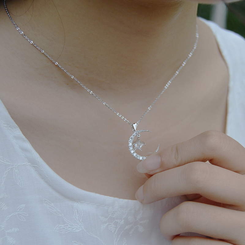 JZTOP Moon Star Full Zircon Necklace Geometry Chain Pendant Choker Necklace Woman Exquisite Banquet Party Collier Jewelry Gift