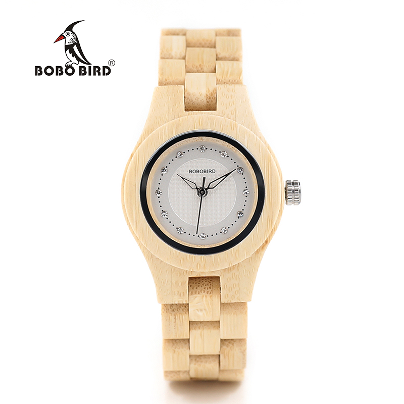 BOBO BURUNG O10 Bambu Wanita Jam Tangan Crystal Dial Ladies Quartz Dress Watch di Kotak Kayu
