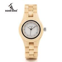 BOBO BIRD O10 الخيزران نساء ساعات كريستال الهاتفي السيدات ساعة كوارتز للمناسبات الرسمية في صندوق خشبي
