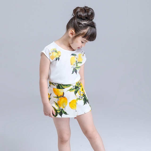 Girls Clothing Set Lemon Printed Brand Shirt + Skirt Suit Girls Clothes Kids children clothing Outfit Spring Summer Clothes Set