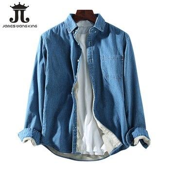 New Winter thick Denim shirt men fashion keep warm fleece loose shirt long sleeve Cotton soft Denim shirts for man tops JRN004