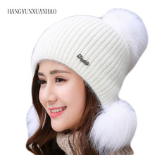 Winter Women Wool Beanies Skullies Femme Ear Flap Warm Pompom Hats For Girls Bonnet Autumn Caps Gorros Cute Fashion 2016 new fashion winter autumn hats for lady girls knitting wool pompons cute caps with ear skullies beanie female gorras 2016 page 3
