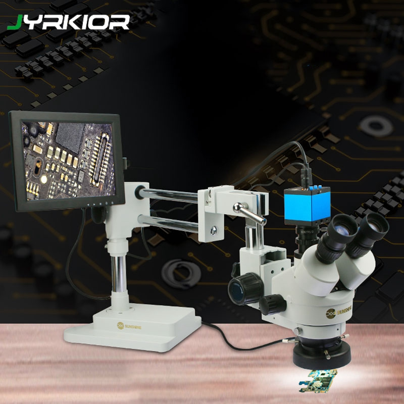 Jyrkior Sunshine SZM45T-STL2 Universal Bracket 7X~45X Continuous Zoom Trinocular Stereo Microscope For Mobile Phone Repair Tool