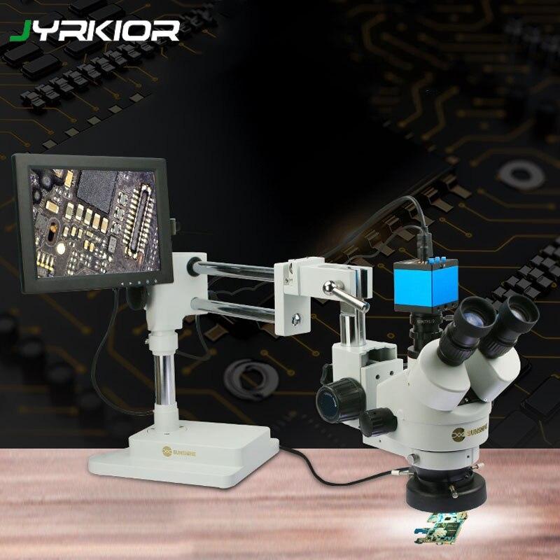 Luz Do Sol Jyrkior SZM45T-STL2 Suporte Universal 7X ~ 45X Contínua Zoom Trinocular Microscópio Estéreo Para A Ferramenta de Reparo Do Telefone Móvel