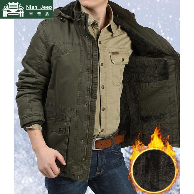 28955df0 Marca 2018 Parka de invierno para hombre abrigo de lana chaquetas militares  gruesas Multi-bolsillos abrigos cuello con capucha para hombre talla grande  m- ...