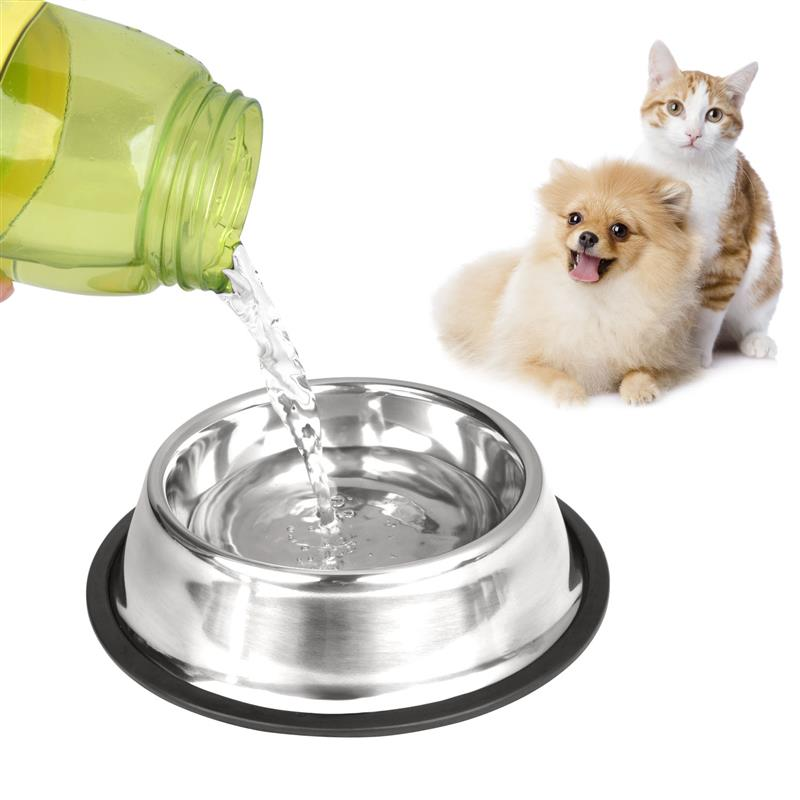 New Pet Product For Dog Cat Bowl Stainless Steel Anti-skid Pet Puppy Cat Food Water Bowl Pet Feeding Bowls Tool Stainless Steel