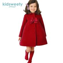 Kidsweety Winter Girls Woolen Coats Jackets Waistcoat Christmas Princess Children's Girl Outerwear Coat Baby Girls Woolen Jacket