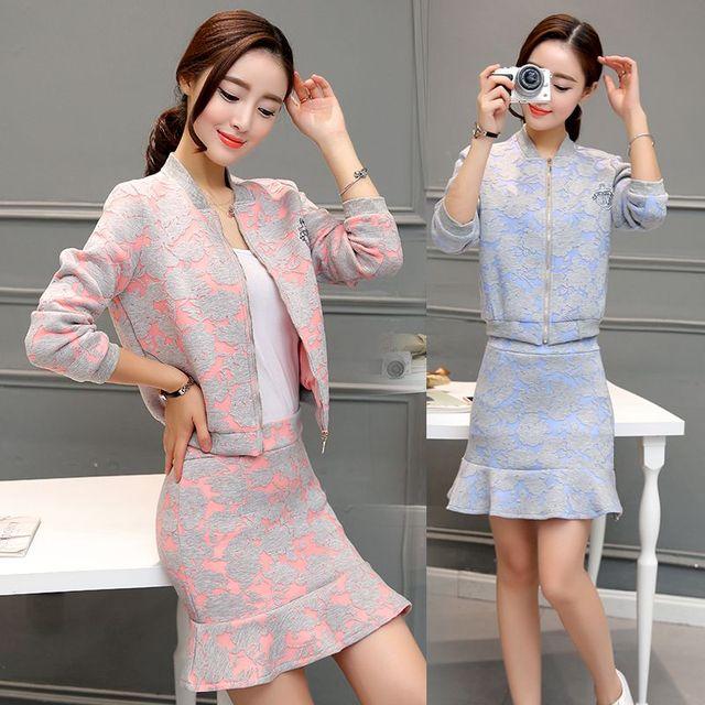Plus gran tamaño de La Moda 2016 mujeres del invierno del otoño 2 unidades conjuntos de manga larga wrap hip fishtail falda de dos piezas trajes B0265