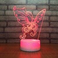 Creative Child Bedroom Sleep 7 Color Change Night Light 3D Led Butterfly Shape Desk Lamp Romantic Atmosphere Home Decor Lighting
