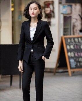 Ladies Pant Suits Fashion 2 Piece Set Brazers Elegant Womens Business Suits Office Uniform Slim Fit Female Trouser Suit W93