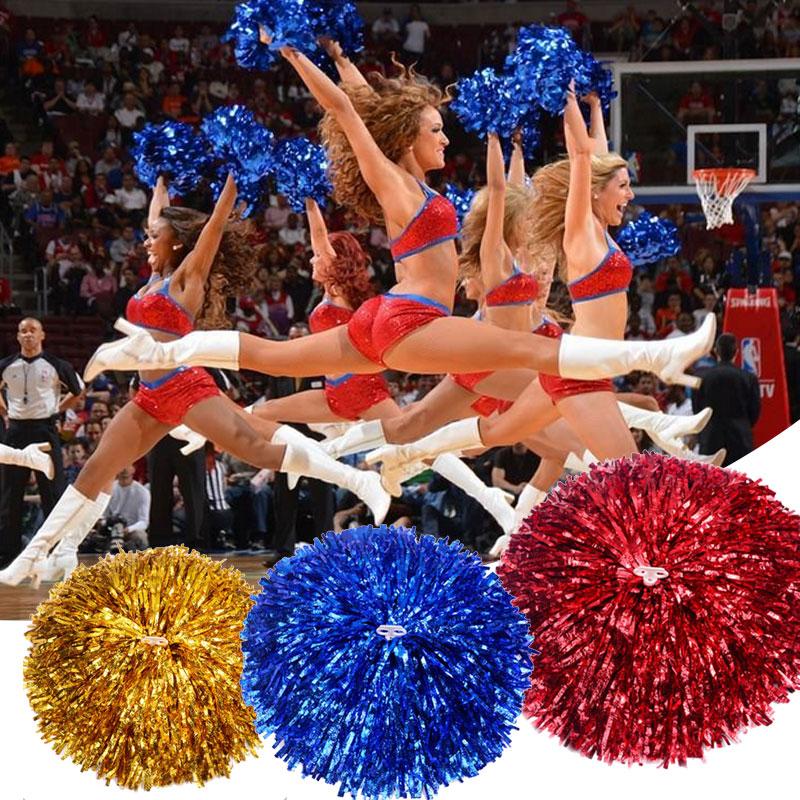 2pcs Handheld Pom Poms Cheerleader  Dance Party Cheer Pom Club Decor Gadget Cheerleading Accessories