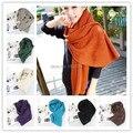 Корейский стиль мужчины и женщины толщиной подражать кашемировые шали шарф сплошной цвет теплая зима трикотажные шарфы из шерсти бесплатная доставка