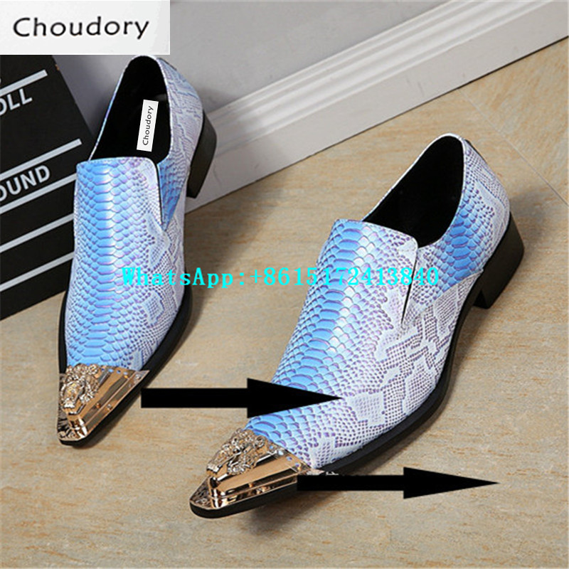 Choudory Colours Mixed Colors Snakeskin Genuine Leather Height Increasing Shoes Casual Fish Pattern Pointed New Fashion Shoes