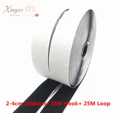 25 Meters/pair Black White Magic Tape NO Self Adhesive Fastener Tape Polyester Nylon Hook Loop Fastener DIY Sewing Accessories diy cotton nylon lace adhesive tape white