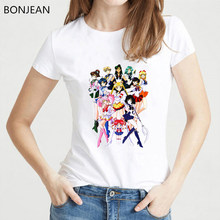 Ulzzang Sailor Moon t donne della camicia vestiti 2019 harajuku kawaii tshirt tumblr top tee shirt femme puls size t-shirt donna(China)