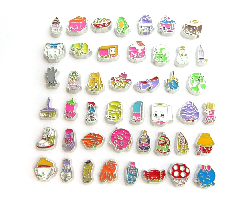 10pcs mix style shop kins floating locket charms DIY Accessory Fit for Locket as party b ...