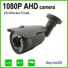 OSD menu contrôle AHD 1080 P sécurité extérieure cctv caméra 2.8-12mm lentille boîtier résistant aux intempéries