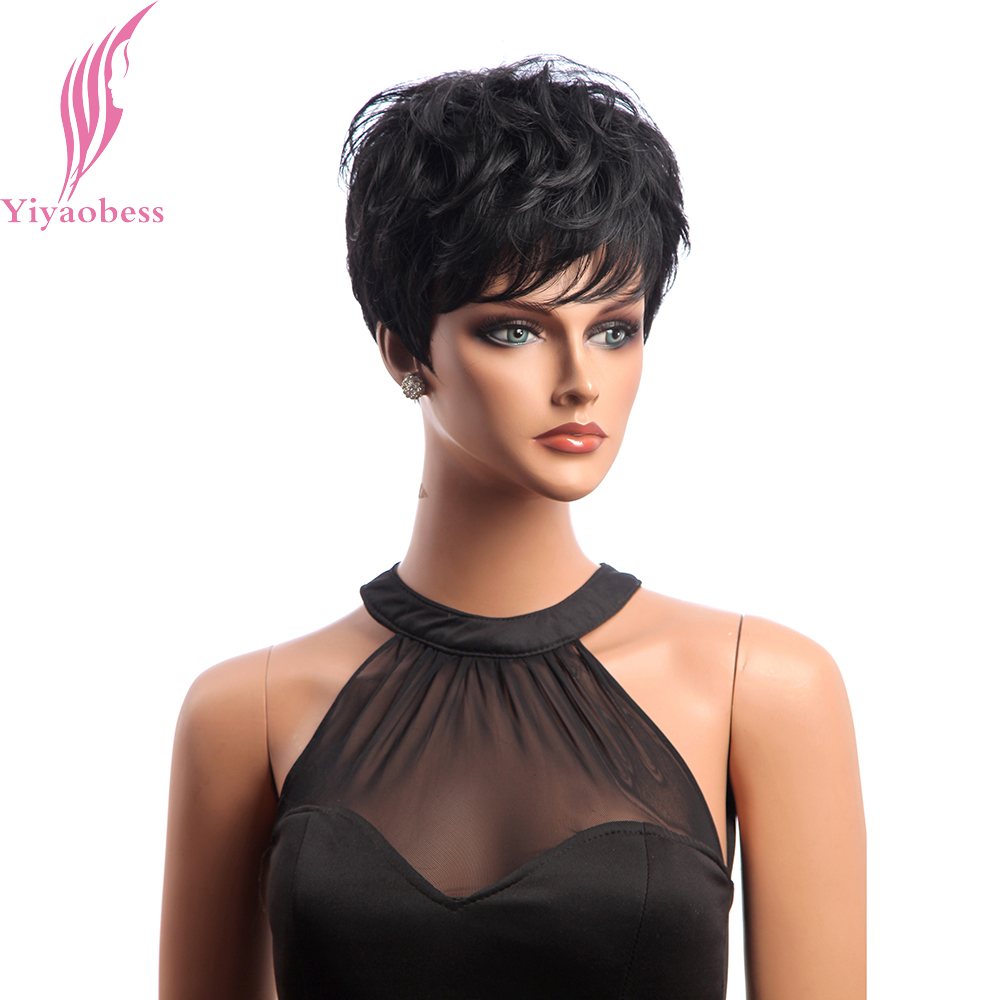 Yiyaobess Short Black Wig Curly Hair Synthetic Natural African American Wigs For Women Japanese Fiber