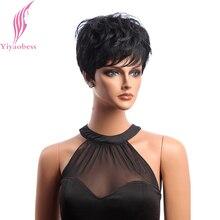 Yiyaobess krótki czarny peruka kręcone włosy syntetyczne naturalne peruki afroamerykańskie dla kobiet japońskie włókno